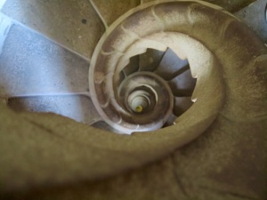 Stairs in a tower of Sagrada Familia (looking down)
